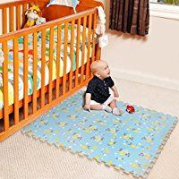 Gorgeous play mats for a baby boy's nursery. The blue and yellow look great together.  Children's Blue Foam Play Mats - 9 Soft Interlocking Floor Mats with Yellow Bird Pattern for Children and Babies