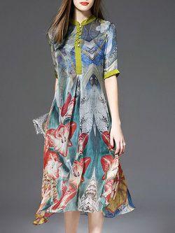 Multicolor Stand Collar Half Sleeve Shirt Dress