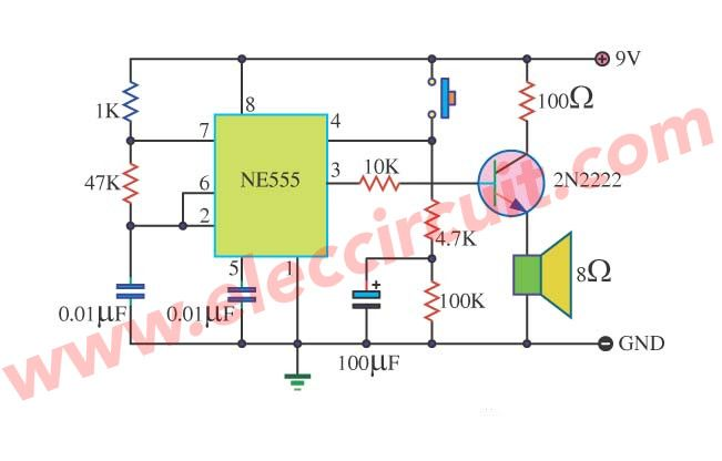 5 Circuits Of 555 Alarm Sound And Tone Generator Eleccircuit Com Circuit Generation Circuit Projects
