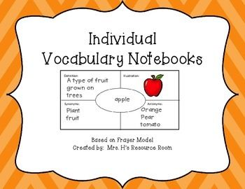 A vocabulary notebook based on the Frayer Model.  Students use this notebook to record their weekly vocabulary from weekly stories or books.  The notebook is organized by book title and author.  The organizer includes: word, definition, illustration, synonyms, and antonyms to complete for each vocabulary word.The organizer pages can be printed front and back to make the booklet most effectively.