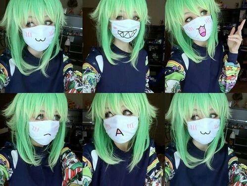 Image via We Heart It #cosplay #cute #eyes #facemask #green #hair #kawaii #makeup #tumblr #wig #youtube #coloredcontacts #emoji #gumi #megpoid #voclaoid #uniqso #anzujaamu