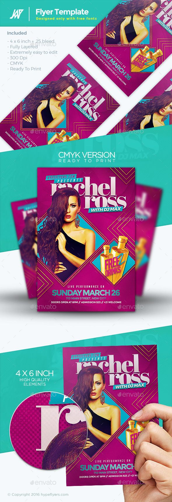 PSD Artist Female Guest Flyer  Template • Only available here ➝ http://graphicriver.net/item/artist-female-guest-flyer/16368020?ref=pxcr