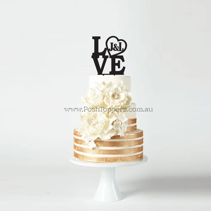 LOVE with Initials in Heart - Wedding Cake Toppers Australia