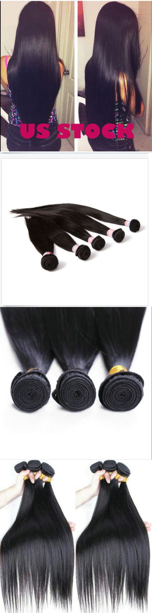 Hair Extensions: 3 Bundles 150G Peruvian Straight Hair All Virgin Remy Human Hair Extensions Us -> BUY IT NOW ONLY: $42.99 on eBay!