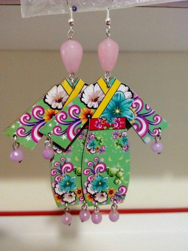 Geisha earring handmade diy kimono