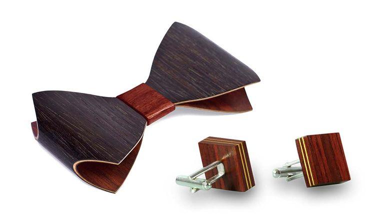 Комплект галстука-бабочки ЛЮКС и запонок от БАГ из дерева | Красное красное дерево - красный махагон / Клён / Чёрный дуб Л