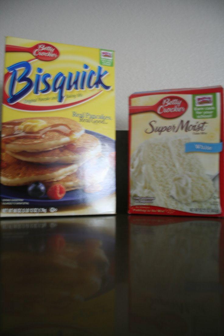 1c Bisquick, 1c white cake mix, 1c milk, 2 eggs = best pancakes EVER!!!