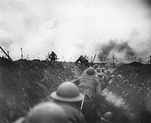 Entering No Man's Land during the Battle of the Somme, 1916