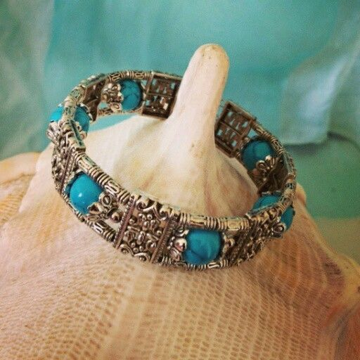Tibetan Silver & Blue Howlite Bangle $12  Postage $8 To order, message us on our Facebook page Moonsong Jewellery, or email us at moonsongjewellery@gmail.com