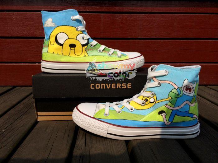 Кроссовки Converse All Star Мужчины Женская Обувь Приключения Время Индивидуальный Дизайн Ручная Роспись Обувь Высокий Верх Холст Кроссовки