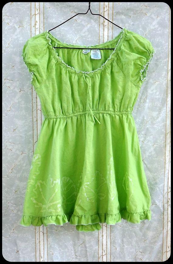 Batik Blouse Women's/Junior's Small Lime Green  by GraceAtieno, $27.00