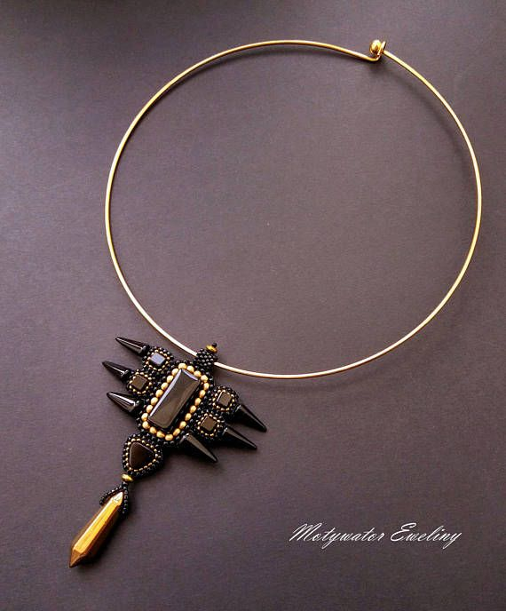 Predatory Necklace with Hematite Crystal and Black Agate