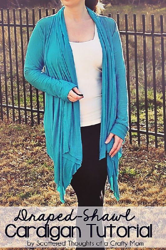 How to sew your own Draped Shawl Cardigan - uses a shirt that fits to make your own pattern