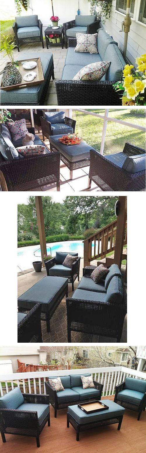 Here are four ways Home Depot customers have incorporated the Fenton 4-Piece Patio Set into their outdoor spaces. The set comes with peacock cushions and colorful throw pillows. The oversized ottoman also doubles as a coffee table simply by removing the cushion.