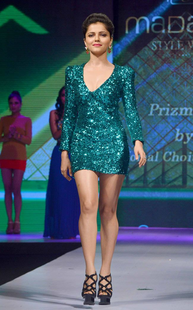Rubina Dilaik upped the hotness quotient in this aqua sequined dress at Madame Style Week 2014. #Bollywood #Fashion #Style #Beauty #MSW2014