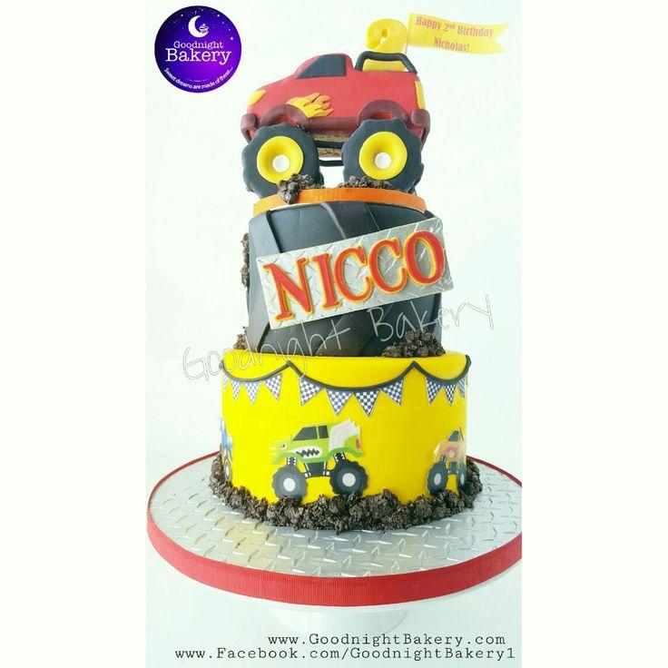 Monster Truck 1st Birthday Cake with oreo dirt
