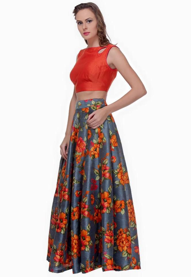 Crop Top with Floral Skirt