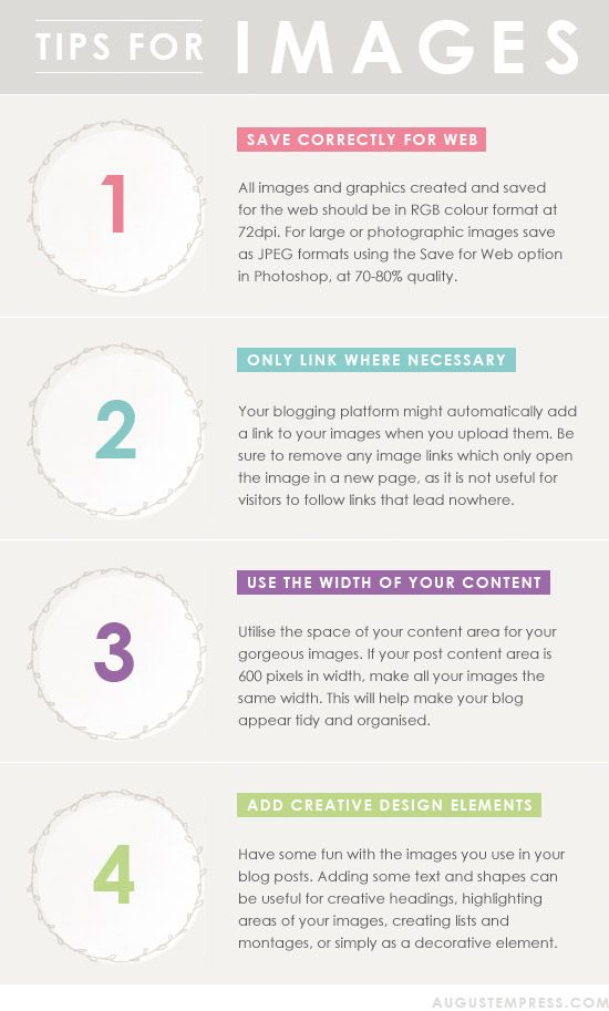 Tips For Images // Find it here: http://www.augustempress.com/2012/05/blog-design-tips-layout/