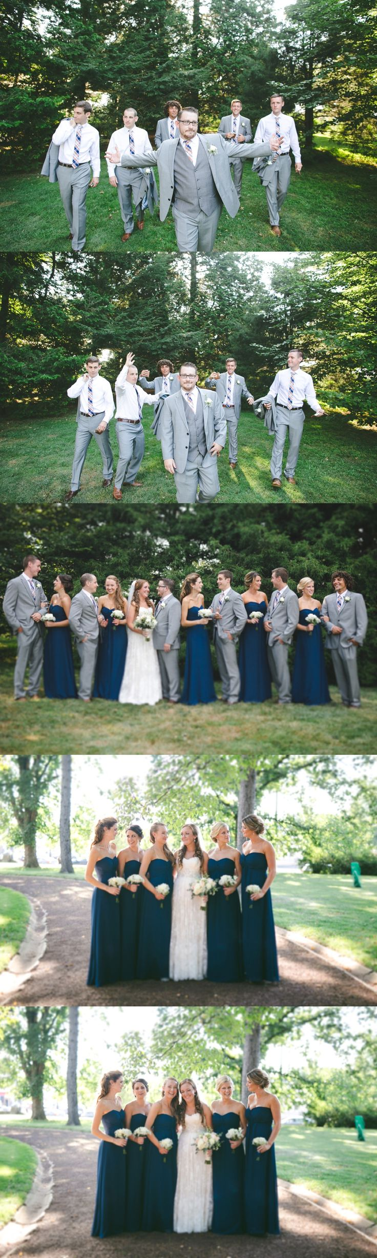 Navy Marine Blue Bridesmaid Dresses with Grey Groomsmen Suits | Bridal Party Portraits
