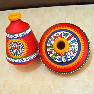 Terracotta Warli Handpainted Pots Red Set Of 2