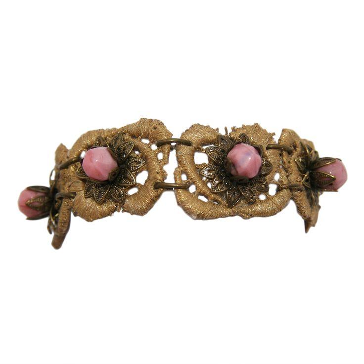 #Pulsera #estilo #dorada y #rosa. Precio: 122€