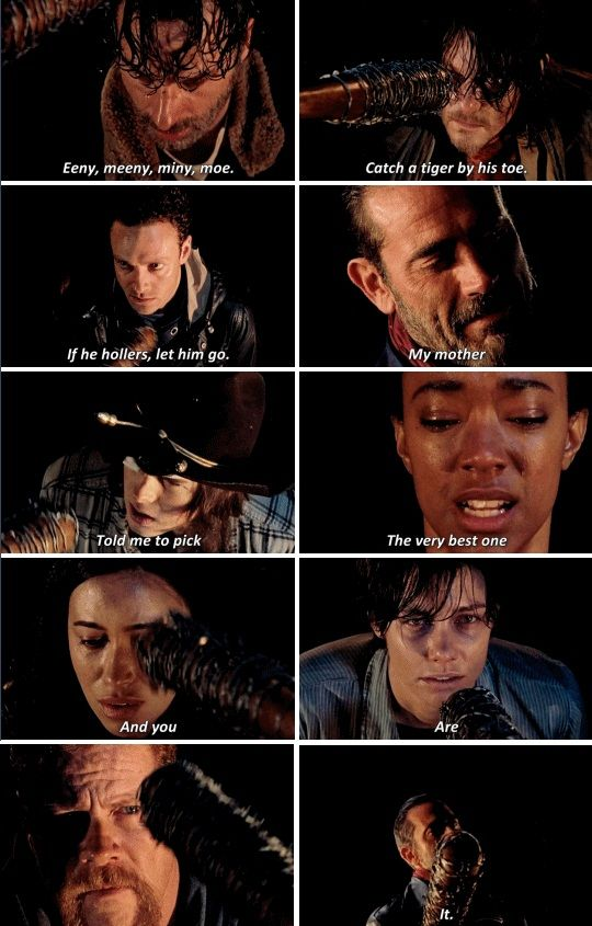"""Negan: Eeny, meeny, miny, moe, catch a tiger by the toe. If he hollers, let him go. My mother told me to pick the very best one, and you-are-it. #TheWalkingDead 6x16 """"Last Day on Earth"""""""