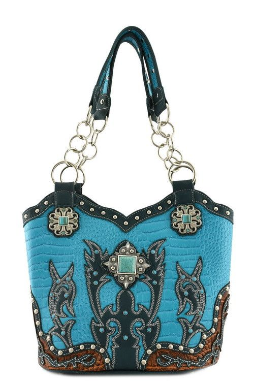 Western Inspired Designer Shoulder Bag w/Turquoise Jewel Accent & Chain Strap