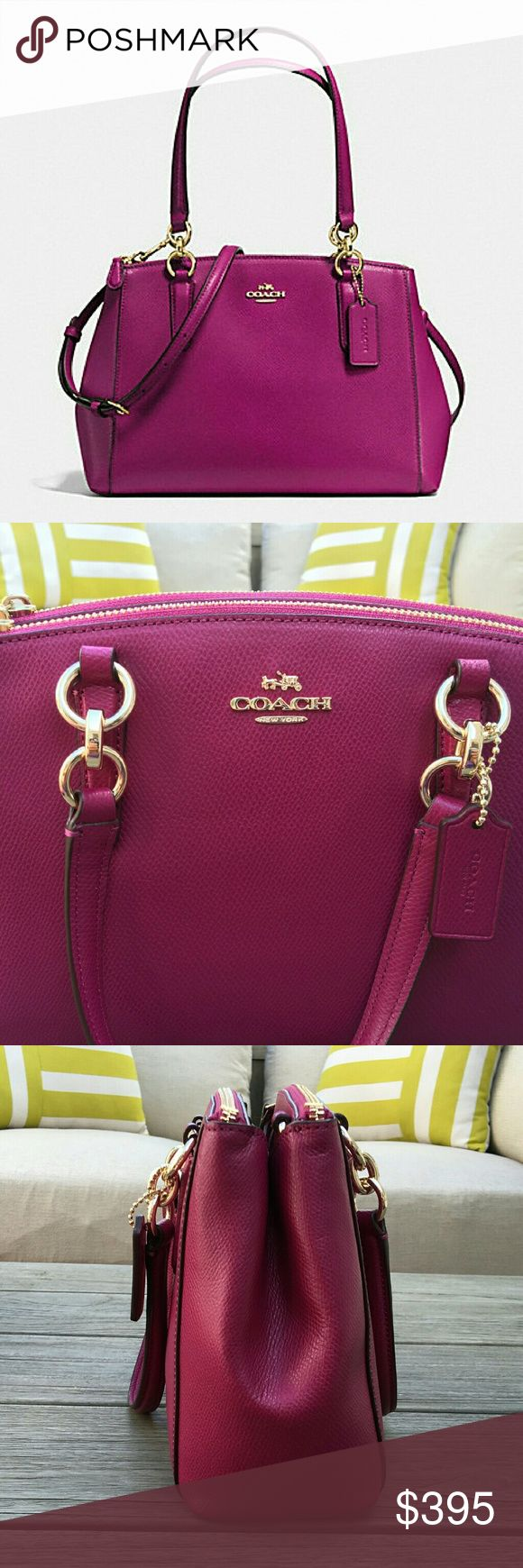 "COACH Fushia Small CHRISTIE Carryall Sophisticated and elegant in durable coated canvas, this modern, flared shape versatile bag is suitable for any occasion. A must see beauty!!  Signature PVC with leather trim Gold tone hardware Leather embossed Coach signature hangtag Snap closure Fabric lining 10.5""(L) x 7""(H) x 4""(W) Double leather handles with a 5.75"" drop  Smoke free / pet free home Coach Bags Mini Bags"