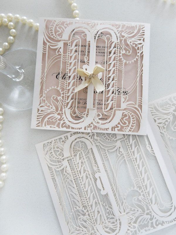 Sydney laser cut wedding invitation - Custom colours - intricate design