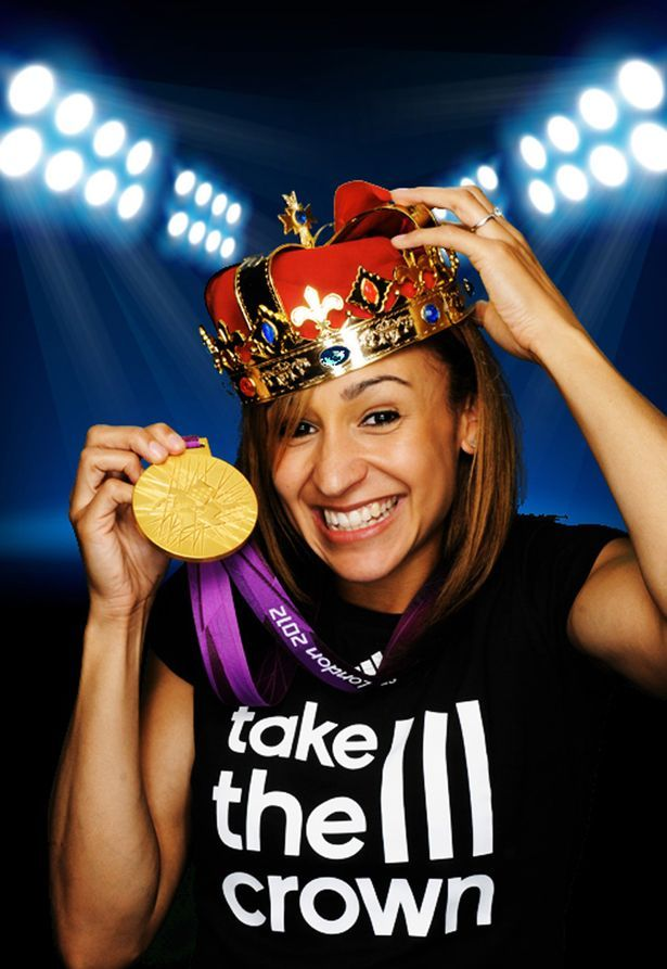 Olympic golden girl Jessica Ennis shows off her medal in the #takethestage photobooth, at the adidas media lounge. #London2012Olympics