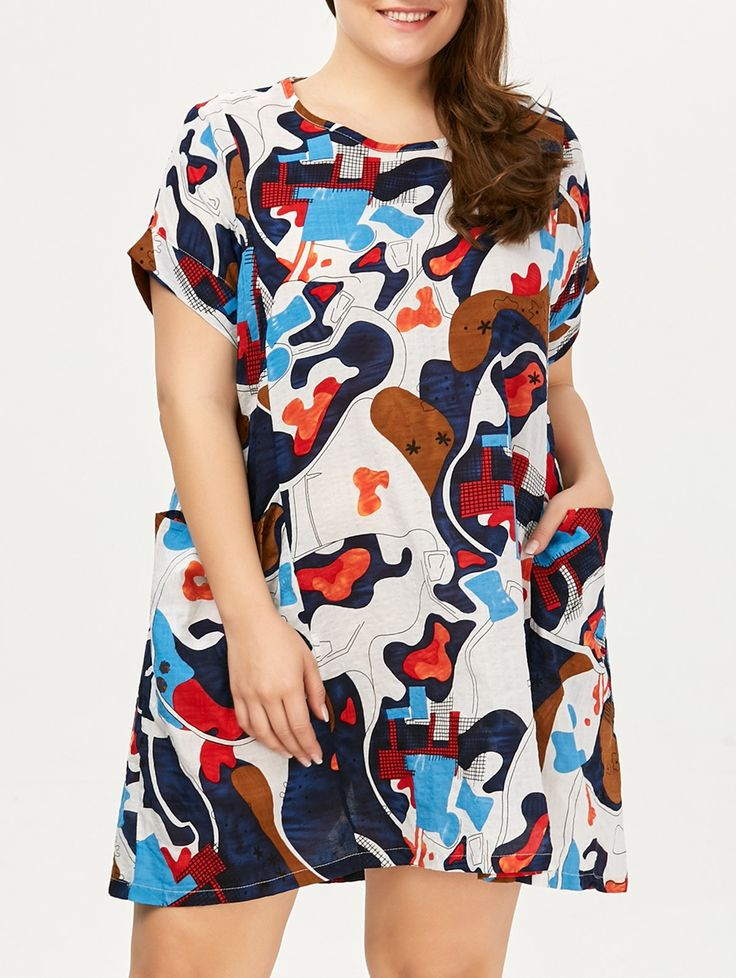 Plus Size Colored Baggy Dress  With Pockets #shoes, #jewelry, #women, #men, #hats, #watches