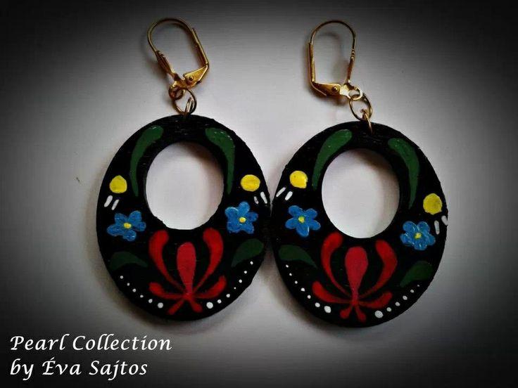 Black kalocsai handmade painted earings