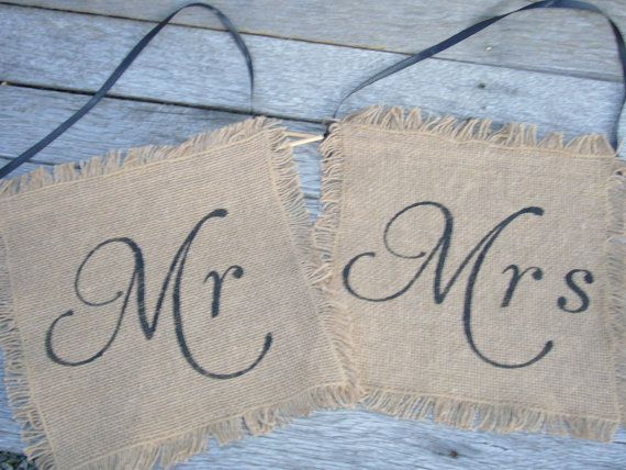 Mr Mrs Chair Signs Burlap Wedding Sign Photo Prop Decoration Rustic Woodland