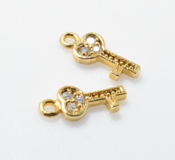 Cubic Heart Key Pendant Jewelry Supplies Jewelry by GemsFlower