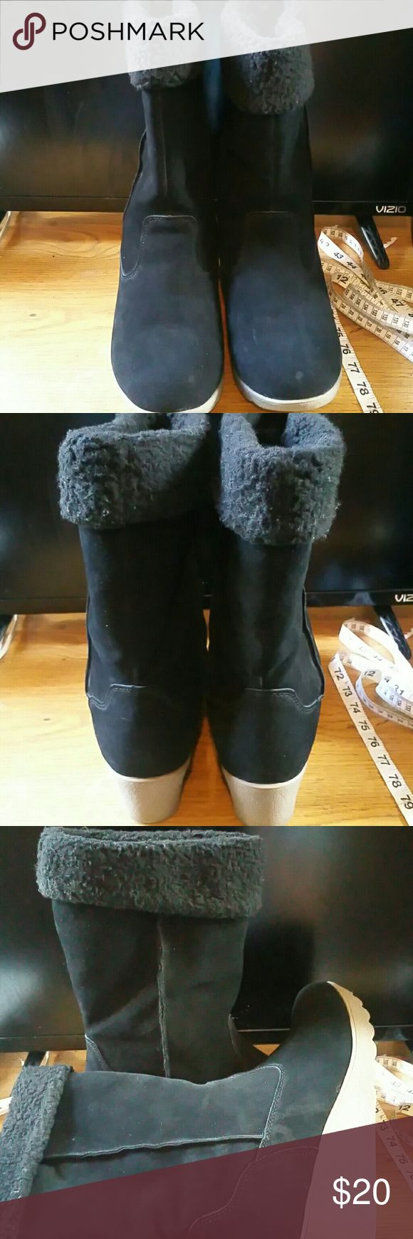 Lands End Faux Suede Wedge Boots 9.5B Pre-Owned Lands End Black Faux Suede Boots  Size 9.5B  Boots were worn several times.. Heels are in good condition.. Material may need a good cleaning Lands' End Shoes Winter & Rain Boots