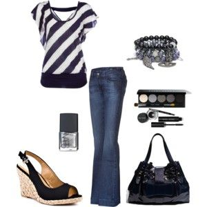 Cute: Fashion, Dreams Closet, Clothing, Black And White, Jeans, Black White, Blue Stripes, Black Wedges, Date Night Outfits