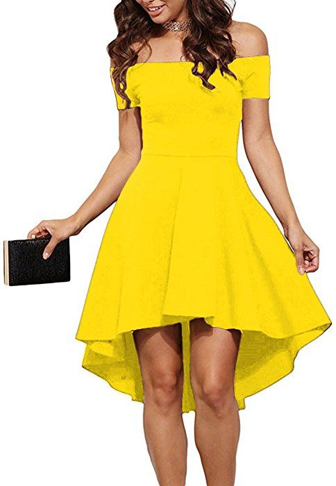 8a7af593da74 Amazon.com  Sarin Mathews Women Off The Shoulder Short Sleeve High Low  Cocktail Skater Dress Yellow S  Clothing