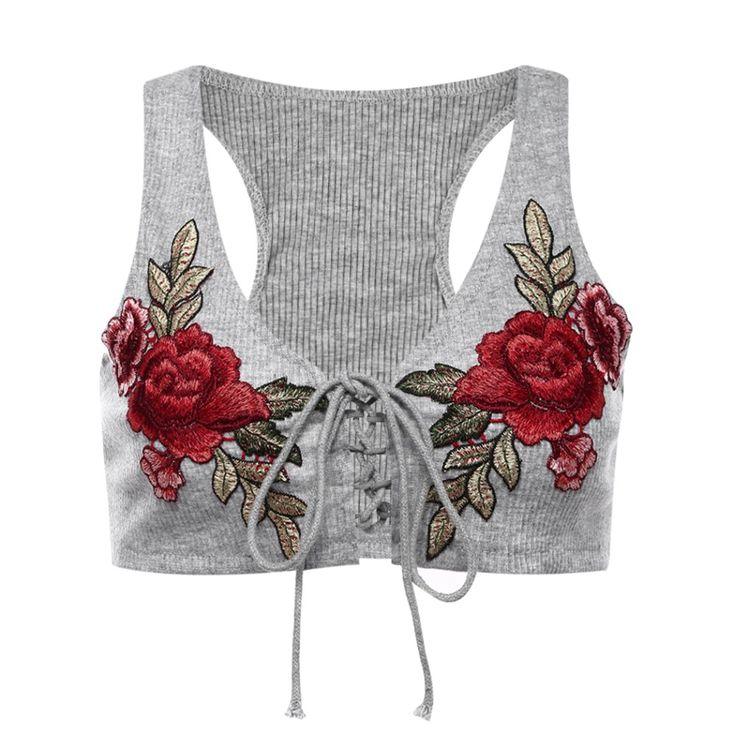 FUNOC Mujeres Camisa Corta Camis Tapas Del Tanque de 2017 Del Verano Del Hombro Sexy Lace Up Bralette Chaleco Rosa Bordado camiseta de La Camiseta Blusas