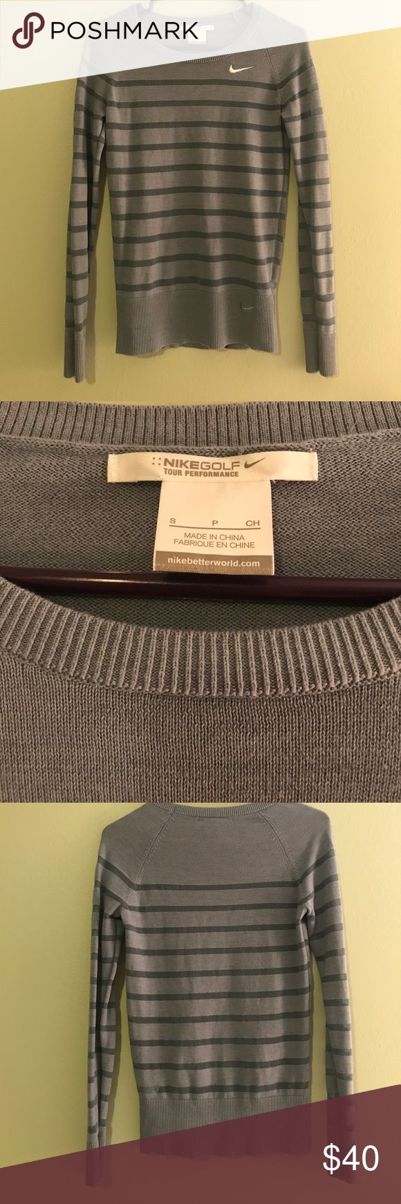 Nike golf sweater ⛳️ Lightweight grey Nike women's golf sweater. See through stripes as seen in pics. Great condition! Nike Sweaters