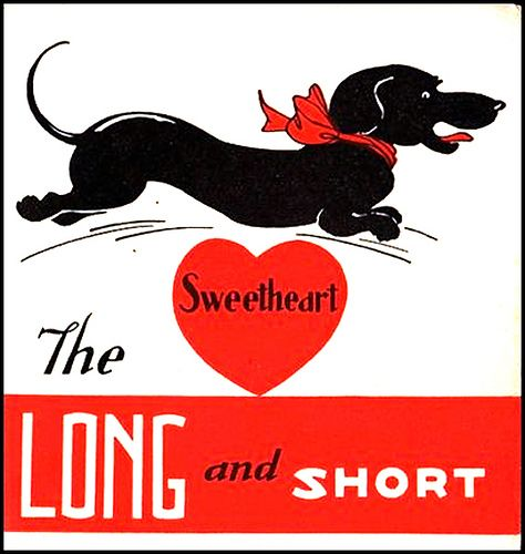 """A BLACK DACHSHUND JUMPING OVER A RED HEART WITH """"SWEETHEART"""" WRITTEN ON IT."""