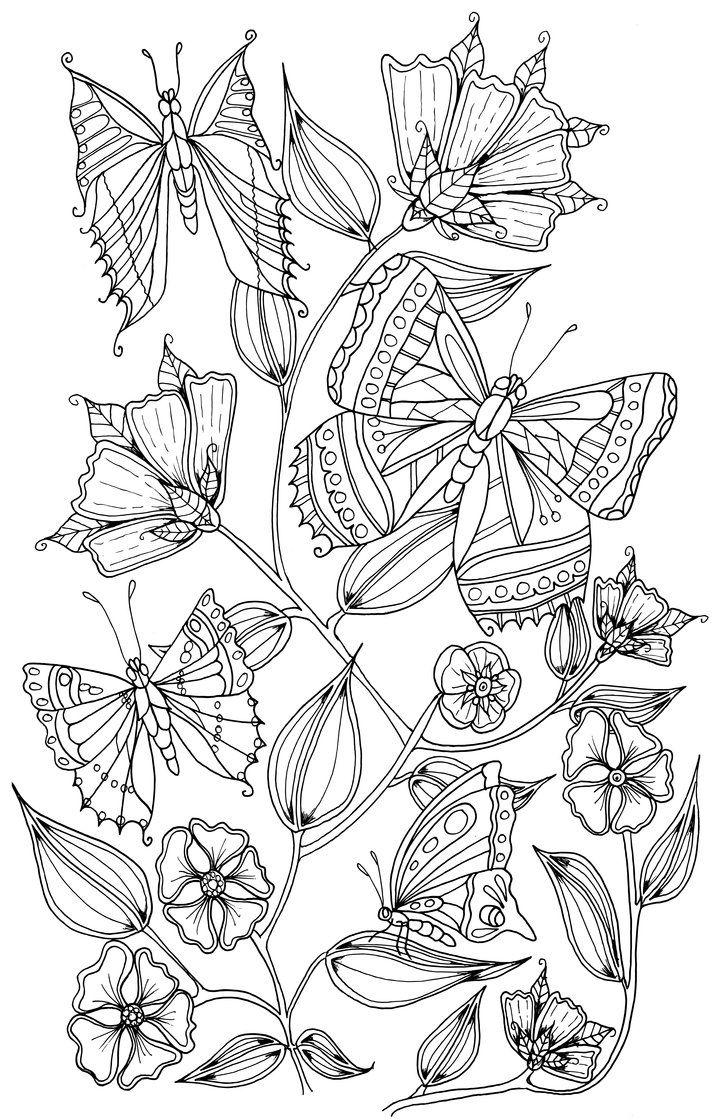 Butterflies by WelshPixie on DeviantArt   *   Butterfly Papillon Mariposas Vlinders Wings Gracefull Amazing Coloring pages colouring adult detailed advanced printable Kleuren voor volwassenen coloriage pour adulte anti-stress kleurplaat voor volwassenen Line Art Black and White
