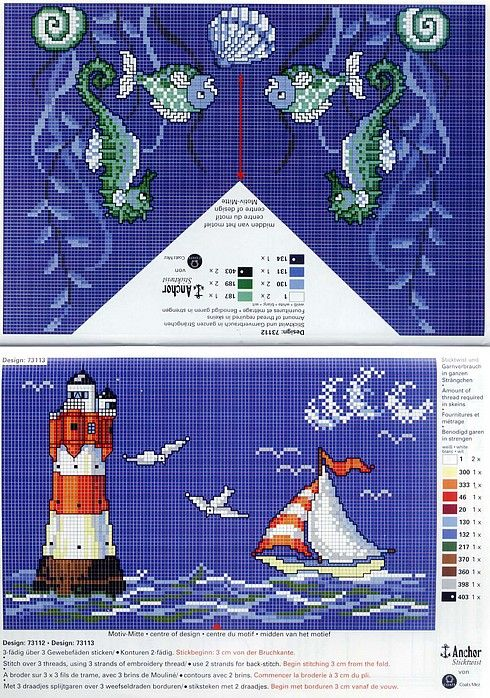 Cross stitch pattern, lighthouse, sea, fish, boat.