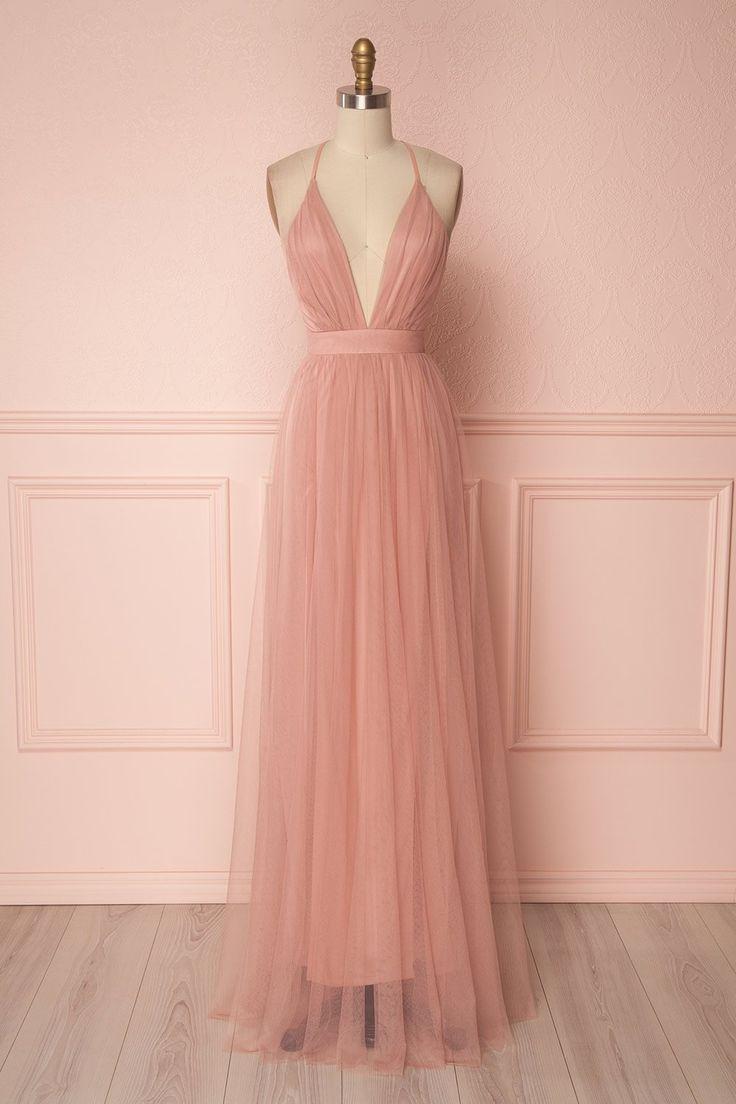 Aliki Blush Dusty Pink Mesh Maxi Dress   Boutique 1861