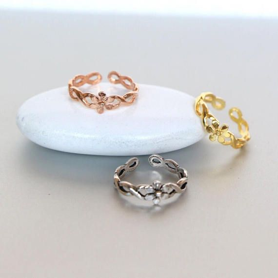 Toe Rings Set Silver Gold And Rose Gold Toe Ring Flower Toe