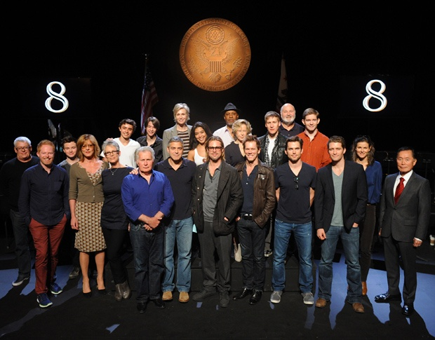 Top row, from left: Jansen Panettiere, Bridger Zadina, Jane Lynch, Vanessa Garcia, James Pickens Jr., Yeardley Smith, writer Dustin Lance Black, director Rob Reiner, and actor Rory O'Malley; Bottom row, from left: Cleve Jones, Jesse Tyler Ferguson, Chris Colfer, Christine Lahti, Jamie Lee Curtis, Martin Sheen, George Clooney, Brad Pitt, Kevin Bacon, Matt Bomer, Matthew Morrison, Campbell Brown, and George Takei onstage during rehearsal for 8, presented by The American Foundation For Equal…