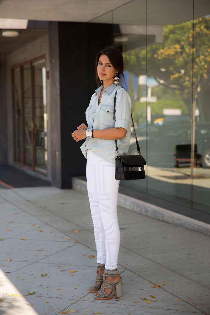 Everyday looks - J Brand embroidered jeans + bleached denim shirt