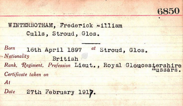Frederick was awarded this Aviator Certificate on 27 February 1917. Unfortunately, the aircraft type and location are not recorded.    F. W. Winterbotham is a historical character in Warren Bell's debut novel Fall Eagle One      - See more at: http://mfo.me.uk/img_viewer.php?.sa=1=766=1707#sthash.a9KyERS3.dpuf