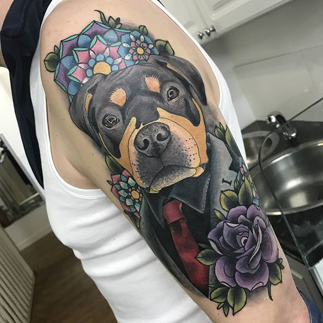 Another addition to my traditional style sleeve tattoo. All tattoos represent family past and present.  @aynjjalchaos done an amazing job of covering up an old panther tattoo with my boy Marshall. Only a few to go now till complete. #rottietattoo #rottie #staffie #rottiexstaffie #traditionalsleeve #traditionaltattoo #doggytattoos #colour #family #colourtattoos #purplerose #rottweilerpuppy #suit #redtie #armtattoo #rottweilersoninstagram #dogtattoos #rottweilerfans