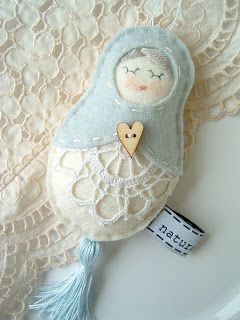 My vintage doll - lace & felt/wool