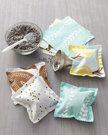 Scented Sachets                                            With these cute hand-printed fabric squares, beautiful scented sachets could not be easier.